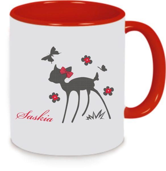 Keramiktasse Tasse Kaffee Tee Becher Deer Reh Kitz Rehkitz