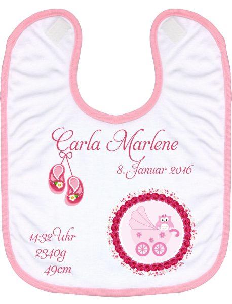 Babylatz rosa Eule im Babywagen
