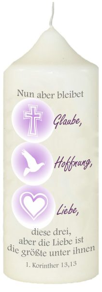 Kerze zur Kommunion mit Namen und Datum (Motiv 3)