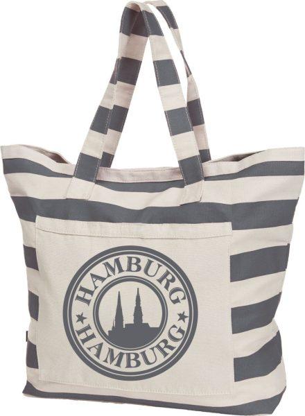 Streifen-Strandtasche Shopper maritim Hamburg Logo