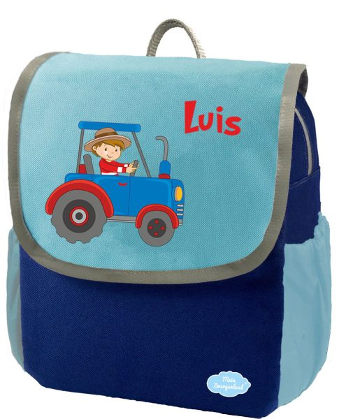 Kindergartenrucksack Happy Knirps NEXT mit Name Blau Traktor