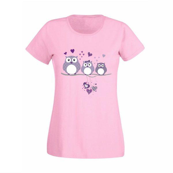 Damen T-Shirt Eulen lila