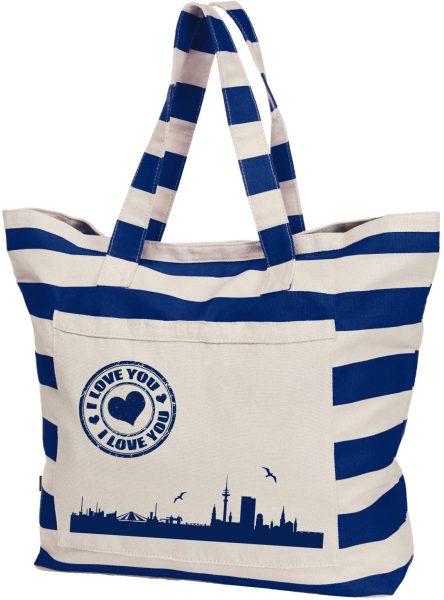 Streifen-Strandtasche Shopper maritim HH Skyline