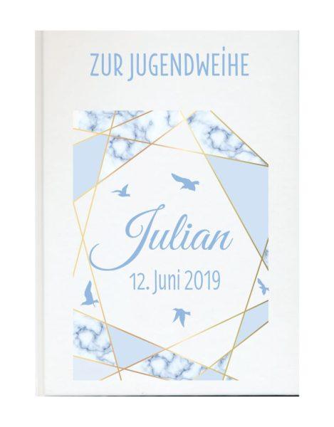 Personalisiertes Gästebuch zur Jugendweihe mit Namen und Datum Vögel