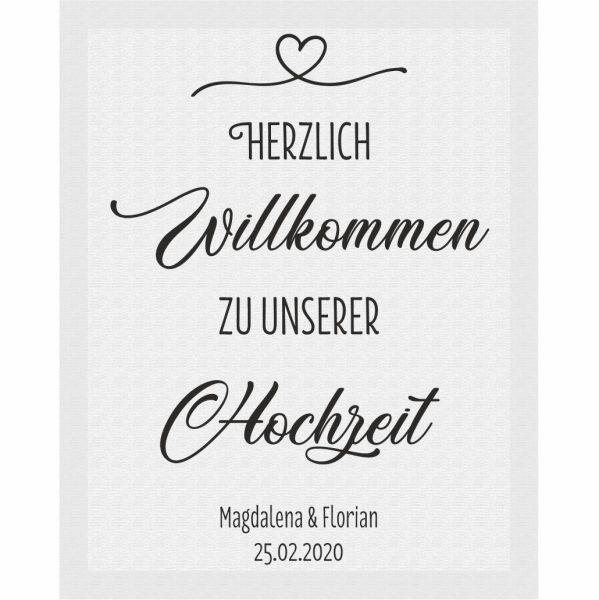 Herzlich Willkommen Schild auf Leinwand mit Datum und Namen Hochzeit