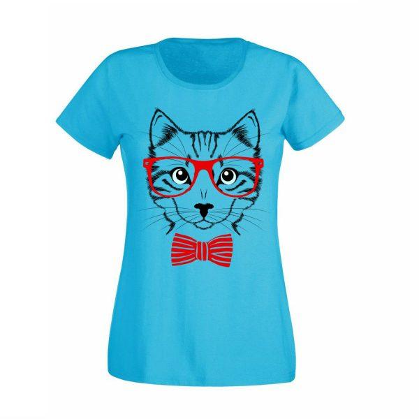 Damen T-Shirt Katze mit Brille