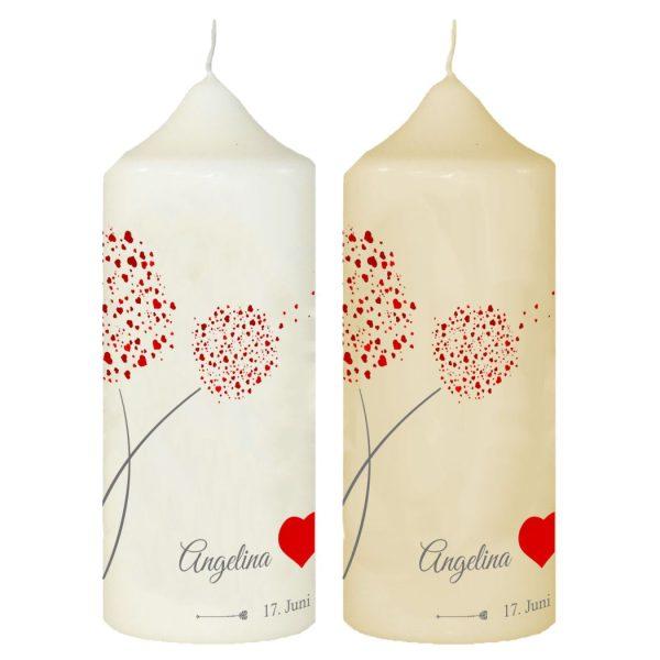 Hochzeitskerze Traukerze mit Namen und Datum Rote Pusteblume mit Herz