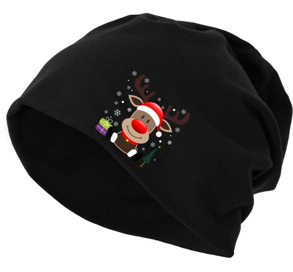 Jersey Beanie Mütze Wintermütze Christmas Weihnachten xmas Elch