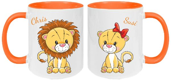 Tassen Twinset in orange mit Name und Löwenpärchen