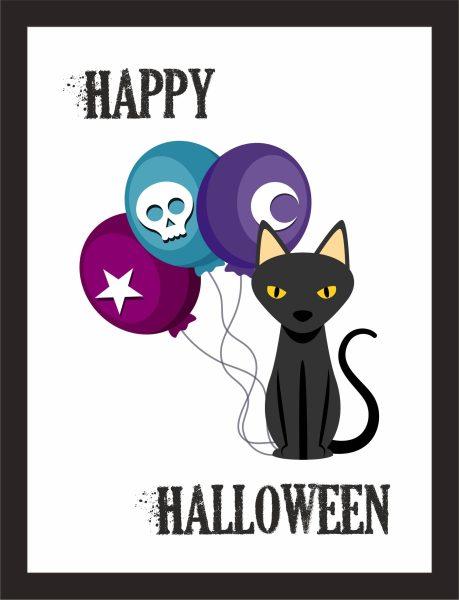 Kunstdruck Happy Halloween Luftballon Katze