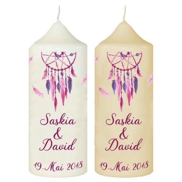 Hochzeitskerze Traukerze mit Namen und Datum Traumfänger lila