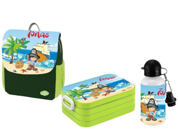 Set 3 Rucksack Happy Knirps NEXT Print - Brotdose Maxi - Trinkflasche Grün Motivauswahl