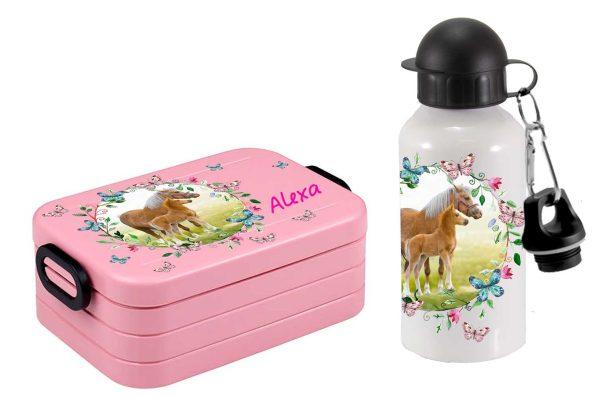 Brotdose Take A Break midi - Alu-Trinkflasche Pferdewiese mit Schmetterlingen
