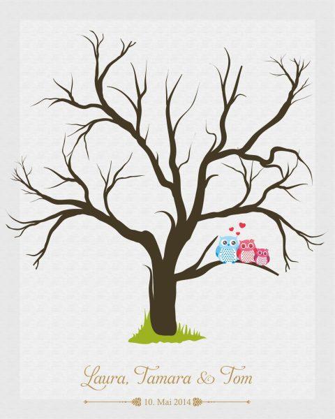 Hochzeitsleinwand Fingerabdruckbaum Wedding Tree Taufe Hochzeit Gästebuch - Traufe Mädchen