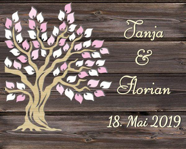 Personalisiertes Hochzeitsgästebuch auf Leinwand in 3D-Optik mit rustikalen Liebesbaum