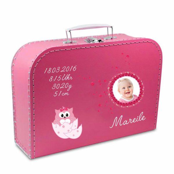 Geschenkkoffer mit Foto pink Eule