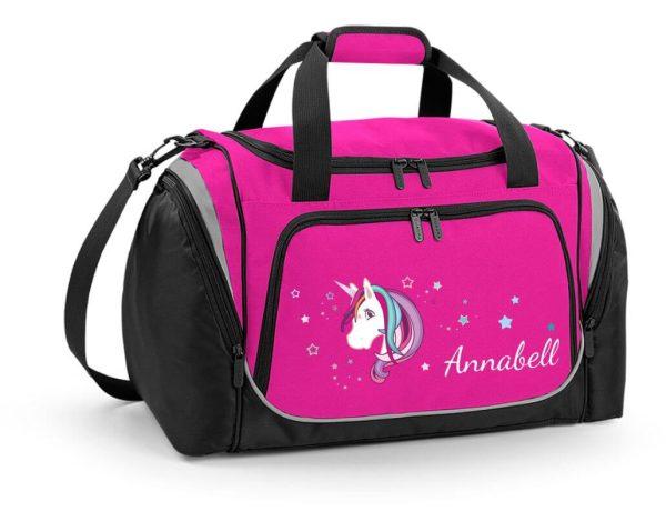 Sporttasche mit Feuchtfach in Fuchsia mit Name und Einhorn Beauty