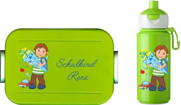 Schulanfangset: Lunchbox Maxi Take A Break midi + Campus Pop-up Trinkflasche