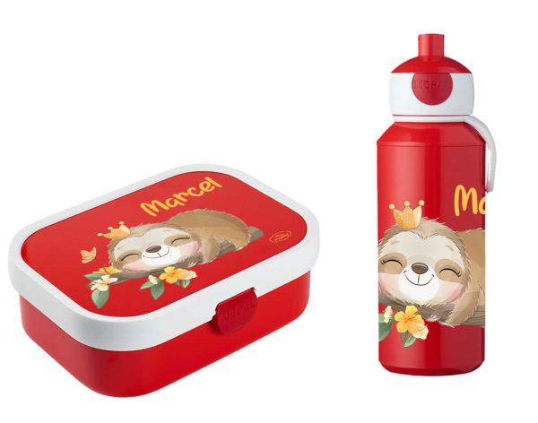 Brotdose Campus mit Bento-Einsatz - Campus Pop-Up Trinkflasche Faultier Baby