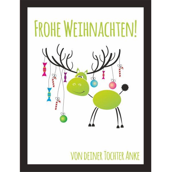 Kunstdruck mit persönlichen Namen Elch zu Weihnachten