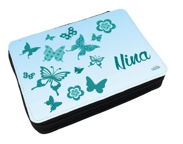 Personalisiertes Federmäppchen mit eigenem Namen und Schmetterlingen
