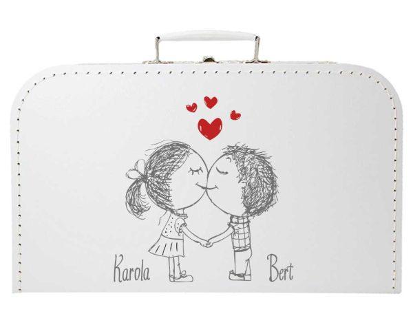 Koffer zur Hochzeit in weiss mit Liebespaar