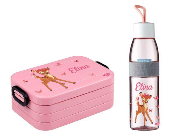 Brotdose Take A Break midi - Trinkflasche Ellipse in Nordic Pink mit Name und Reh Schmetterlinge