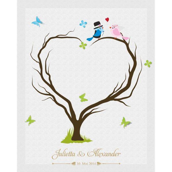 Hochzeitsleinwand Leinwand Fingerabdruckbaum Wedding Tree Gästebuch Herzbaum