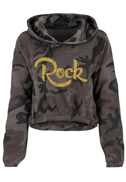 Damen Camouflage Cropped Hoodie Glitzer Rock