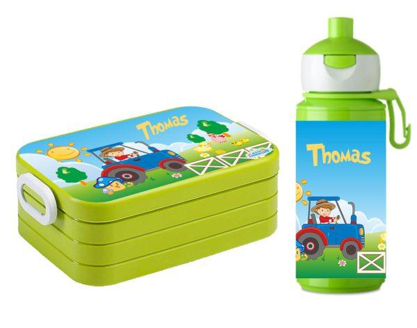 "Brotzeitset ""Traktor"" Lunchbox Maxi Take A Break midi + Pop-up Flasche Lime"