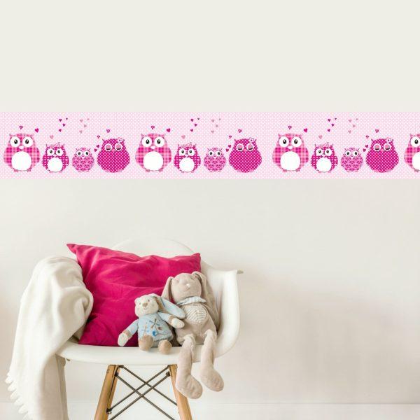 Vlies Bordüre selbstklebend fürs Kinderzimmer Patchwork pink