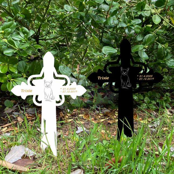 Grabkreuz mit Stern fürs Tier Katze Silhouette