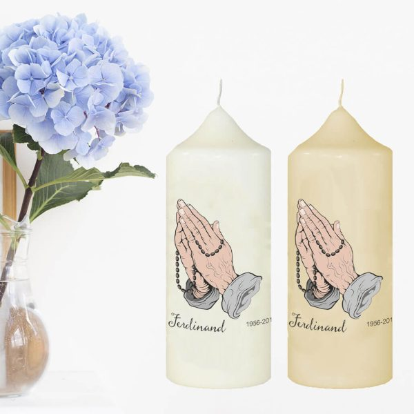 Wachskerze zum Gedenken Betende Hände