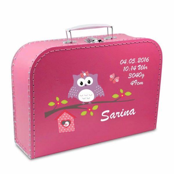 Geschenkkoffer pink Happy Eule