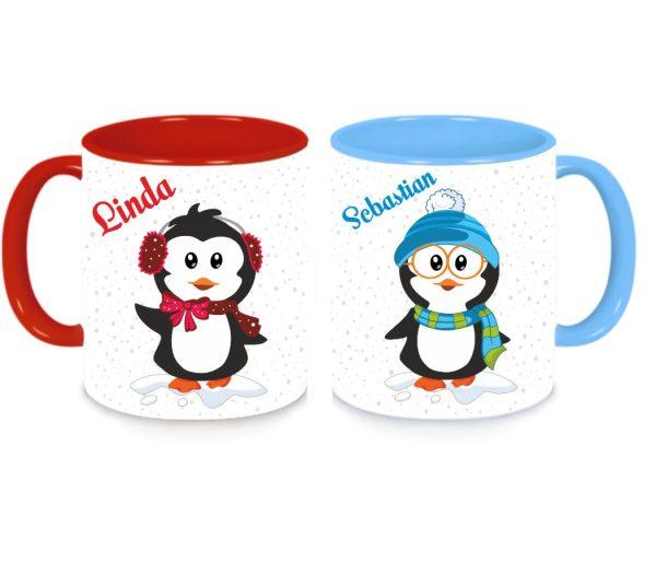 Tassen Twinset in rot und blau - Pinguin Luise und Ferdinand