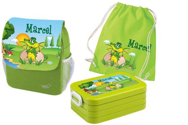 Set 4 Rucksack Happy Knirps NEXT Print, Brotdose Maxi und Turnbeutel aus Baumwolle Grün, verschieden