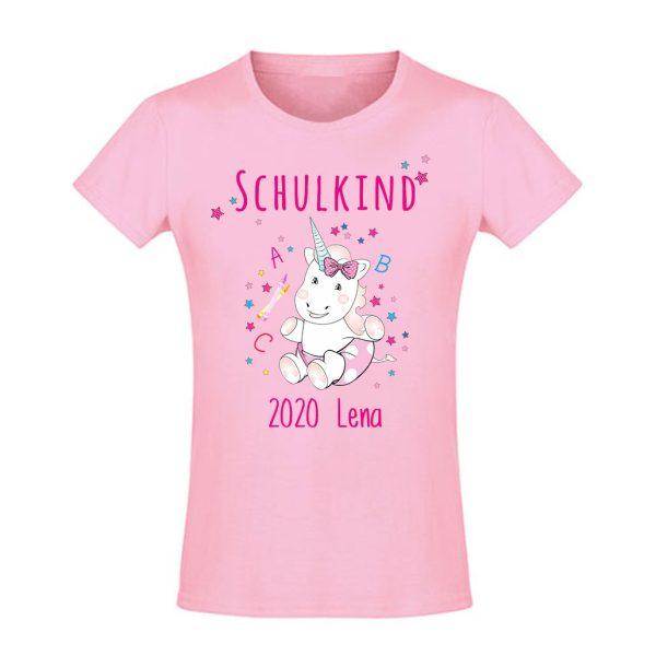 Schulanfangsshirt tailliert für Mädchen Schulkind Einhorn Cutie ABC