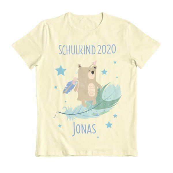 Schulanfang T-Shirt Boho Bär mit Feder unisex mit Name