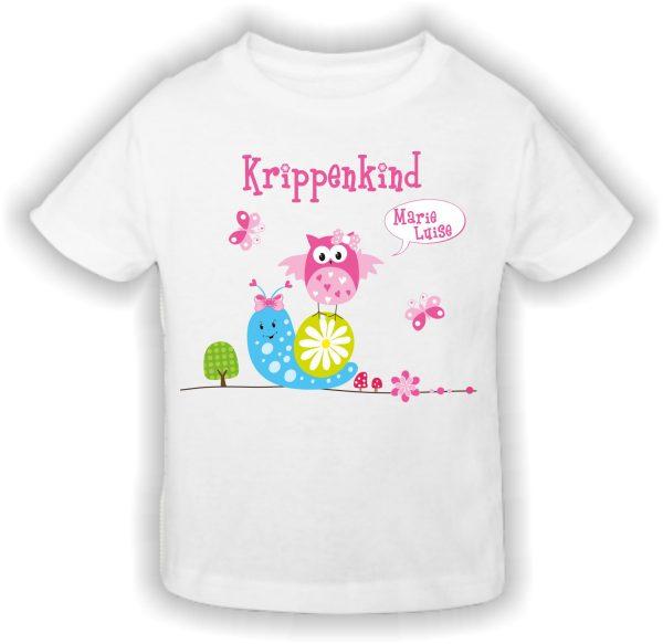 Krippen T-Shirt Krippenkind rosa Schnecke Eule