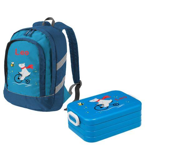 Set 1: Rucksack Bicolor - Brotdose Maxi Blau Motivauswahl