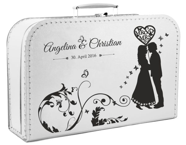 Koffer zur Hochzeit in weiss mit Silhouette
