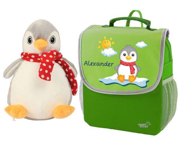Kindergartenrucksack Happy Knirps NEXT mit Pinguin und Plüschpinguin