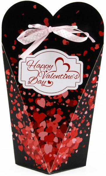 Persönlicher Geschenkkarton zum Valentinstag Herzregen