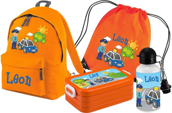 Set 5 Rucksack Junior - Brotdose Maxi - Turnbeutel - Trinkflasche Orange Polizist