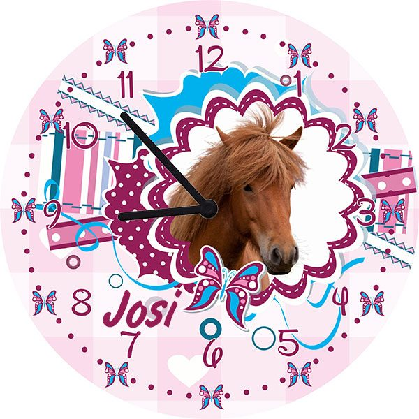 Kinderzimmeruhr Wanduhr Pferdekopf
