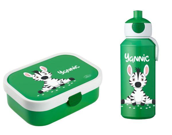 Brotdose Campus mit Bento-Einsatz - Campus Pop-Up Trinkflasche grün Zebra