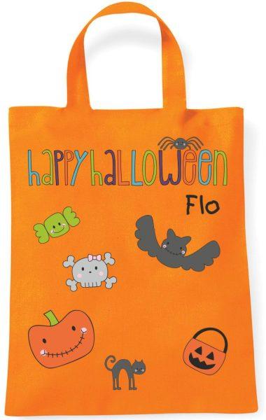 Sammeltasche Stofftasche mit eigenen Namen mini orange Happy Halloween bunt
