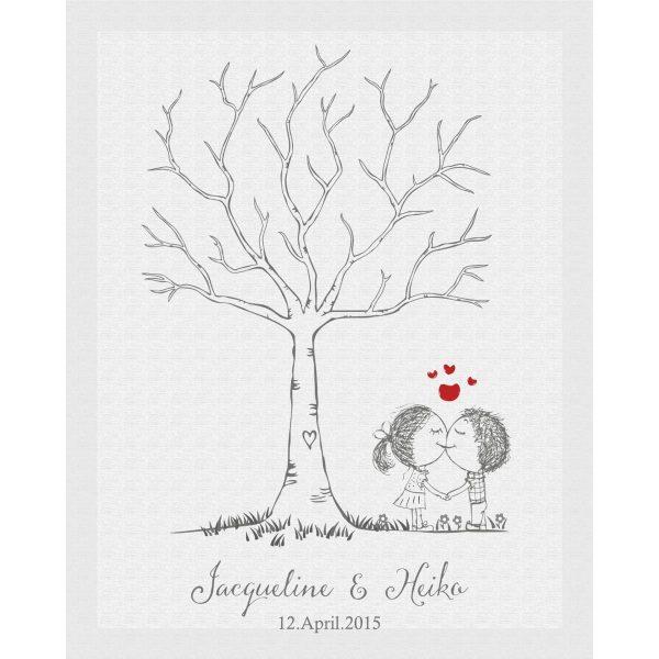 Hochzeitsleinwand Leinwand Fingerabdruckbaum Wedding Tree Gästebuch Liebespärchen