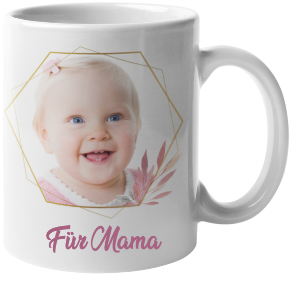 Tasse Weiß mit Foto-Goldrahmen