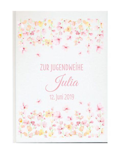 Personalisiertes Gästebuch zur Jugendweihe mit Namen und Datum Blüten